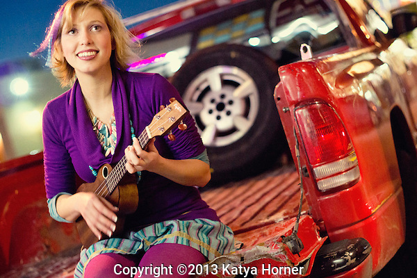 Musician Rhonda Roberts in the Houston Heights.