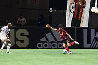 ATLANTA, GA - AUGUST 29: Jurgen Damm #22 of Atlanta United crosses the ball during a game between Orlando City SC and Atlanta United FC at Marecedes-Benz Stadium on August 29, 2020 in Atlanta, Georgia.