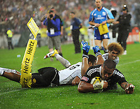 NZ's Frank Halai scores against Fiji in the Cup final during Day Two of the Hertz IRB Wellington Sevens  at Westpac Stadium, Wellington, New Zealand on Saturday, 4 February 2012. Photo: Dave Lintott / lintottphoto.co.nz