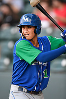 Shortstop Jeison Guzman (11) of the Lexington Legends waits in the on deck circle before a game against the Greenville Drive on Saturday, September 1, 2018, at Fluor Field at the West End in Greenville, South Carolina. Greenville won, 9-6. (Tom Priddy/Four Seam Images)