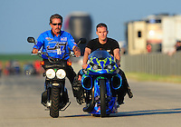 Jul, 9, 2011; Joliet, IL, USA: NHRA pro stock motorcycle rider David Hope during qualifying for the Route 66 Nationals at Route 66 Raceway. Mandatory Credit: Mark J. Rebilas-
