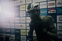 Mathieu van der Poel (NED/Corendon-Circus) in the press tent after winning his 22nd race of the season.<br /> <br /> Elite Men's race<br /> GP Sven Nys / Belgium 2018