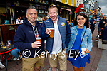 Outside John Reidy's bar in Killarney on Monday, l to r:  Terry O'Sullivan, Adrian Walsh and Julie Murphy, all from Tralee.