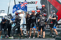 The Great Sound, Bermuda, 26th June 2017. Emirates Team New Zealand win race nine to win the America's Cup. Helmsman Peter Burling and trimmer Blair Tuke spray Moet Champagne in celebration.<br /> Vela Coppa America 2017 <br /> Foto Chris Cameron / Panoramic / Insidefoto
