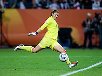Hope Solo.  Japan won the FIFA Women's World Cup on penalty kicks after tying the United States, 2-2, in extra time at FIFA Women's World Cup Stadium in Frankfurt Germany.