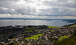 Burntisland Shipyard 0 Colville Park 7, 12/08/2017. The Recreation Ground, Scottish Cup First Preliminary Round. Early stages of the game seen from The Binn, a 600 foot high hill overlooking the town. The Forth bridge is on the right hand side. Photo by Paul Thompson.