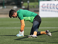 goalkeeper Timon Vanhoutte of Anderlecht streching during the warm up before  a friendly soccer game between K Londerzeel SK and RSC Anderlecht Reserves during the preparations for the 2021-2022 season , on Wednesday 21st of July 2021 in Londerzeel , Belgium . PHOTO SEVIL OKTEM   SPORTPIX