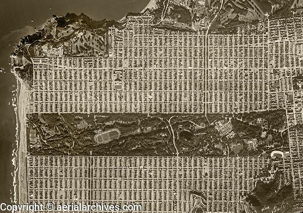 historical aerial photograph of Golden Gate park, San Francisco, California, 1972