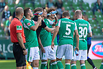 19.09.2020, wohninvest Weserstadion, Bremen, GER,  SV Werder Bremen vs Hertha BSC Berlin, <br /> <br /> <br />  im Bild<br /> <br /> Florian Kohfeldt (Trainer SV Werder Bremen)<br />     Gestik, Mimik, Emotionen in der Cochingzone am Spielfeldrand, Ludwig Augustinsson (Werder Bremen #05)<br /> Davy Klaassen (Werder Bremen #30)<br /> Joshua Sargent (Werder Bremen #19)<br /> <br /> Foto © nordphoto / Kokenge<br /> <br /> DFL regulations prohibit any use of photographs as image sequences and/or quasi-video.
