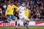 Mauricio Lemos of UD Las Palmas (L) fights for the ball with Nacho Fernandez of Real Madrid (R) during the La Liga 2017-18 match between Real Madrid and UD Las Palmas at Estadio Santiago Bernabeu on November 05 2017 in Madrid, Spain. Photo by Diego Gonzalez / Power Sport Images