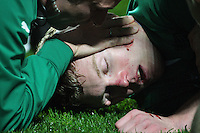 Keith Earls is checked after his collision with Hosea Gear during the Steinlager Series international rugby test match between All Blacks and Ireland at Waikato Stadium, Hamilton, New Zealand on Saturday, 23 June 2012. Photo: Dave Lintott / lintottphoto.co.nz