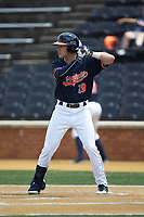 Andy Weber (19) of the Virginia Cavaliers at bat against the Wake Forest Demon Deacons at David F. Couch Ballpark on May 19, 2018 in  Winston-Salem, North Carolina. The Demon Deacons defeated the Cavaliers 18-12. (Brian Westerholt/Four Seam Images)