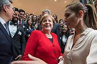 """Die Deutschlandstiftung Integration feiert am Dienstag den 14. Mai 2019 in Berlin das 70. Jubilaeum des Grundgesetzes.<br /> Mit einem neu geschaffenen Preis, einem """"Talisman"""" ehrt die Deutschlandstiftung Integration Menschen, die sich durch ein herausragendes Engagement fuer den Zusammenhalt der Gesellschaft verdient gemacht haben. Der Preis wird im Rahmen des Festakts erstmalig verliehen. Preistraegerin ist die 97-jaehrige Holocaustueberlebende Margot Friedlaender.<br /> Im Bild: Bundeskanzlerin Angela Merkel und Bundespraesident a.D. Christian Wulff und Stipendiaten der Stiftung.<br /> 14.5.2019, Berlin<br /> Copyright: Christian-Ditsch.de<br /> [Inhaltsveraendernde Manipulation des Fotos nur nach ausdruecklicher Genehmigung des Fotografen. Vereinbarungen ueber Abtretung von Persoenlichkeitsrechten/Model Release der abgebildeten Person/Personen liegen nicht vor. NO MODEL RELEASE! Nur fuer Redaktionelle Zwecke. Don't publish without copyright Christian-Ditsch.de, Veroeffentlichung nur mit Fotografennennung, sowie gegen Honorar, MwSt. und Beleg. Konto: I N G - D i B a, IBAN DE58500105175400192269, BIC INGDDEFFXXX, Kontakt: post@christian-ditsch.de<br /> Bei der Bearbeitung der Dateiinformationen darf die Urheberkennzeichnung in den EXIF- und  IPTC-Daten nicht entfernt werden, diese sind in digitalen Medien nach §95c UrhG rechtlich geschuetzt. Der Urhebervermerk wird gemaess §13 UrhG verlangt.]"""