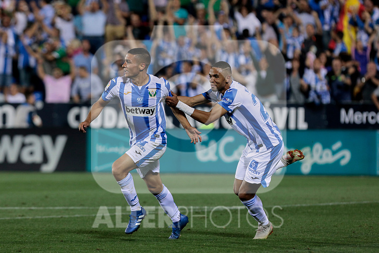 CD Leganes's Youssef En-Nesyri (R) and  Oscar Rodriguez (L) celebrate goal during La Liga match between CD Leganes and FC Barcelona at Butarque Stadium in Madrid, Spain. September 26, 2018. (ALTERPHOTOS/A. Perez Meca)