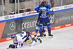 Torjubel bei den beiden Torschützen Mirko Höfflin (Nr.10 - ERC Ingolstadt) und Tim Wohlgemuth (Nr.33 - ERC Ingolstadt) nach dem 2:1, Kai Wissmann (Nr.6 - Eisbären Berlin) am Boden  beim Spiel im Halbfinale der DEL, ERC Ingolstadt (dunkel) - Eisbaeren Berlin (hell).<br /> <br /> Foto © PIX-Sportfotos *** Foto ist honorarpflichtig! *** Auf Anfrage in hoeherer Qualitaet/Aufloesung. Belegexemplar erbeten. Veroeffentlichung ausschliesslich fuer journalistisch-publizistische Zwecke. For editorial use only.