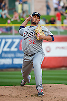 Reno Aces starting pitcher Jhoulys Chacin (32) warms up in the bullpen before the game against the Salt Lake Bees in Pacific Coast League action at Smith's Ballpark on July 18, 2015 in Salt Lake City, Utah. The Bees defeated the Aces 6-4. (Stephen Smith/Four Seam Images)