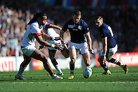 Mark Bennett of Scotland and Thretton Palamo of USA play football during Match 18 of the Rugby World Cup 2015 between Scotland and USA - 27/09/2015 - Elland Road, Leeds<br /> Mandatory Credit: Rob Munro/Stewart Communications