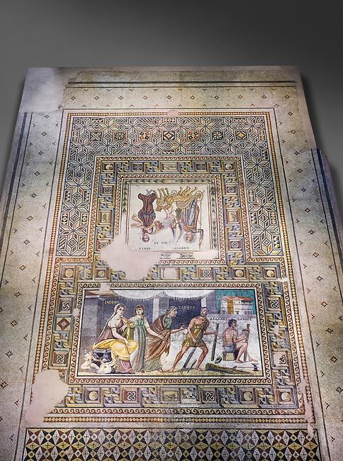 Roman mosaics - Mousai Mosaic. Euphrates Villa, Ancient Zeugama, 2nd - 3rd century AD . Zeugma Mosaic Museum, Gaziantep, Turkey.  Against a grey background.