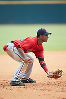 Third baseman Elijha Hammill (29) of Holy Trinity HS in Oakville, ON playing for the Boston Red Sox scout team during the East Coast Pro Showcase at the Hoover Met Complex on August 3, 2020 in Hoover, AL. (Brian Westerholt/Four Seam Images)