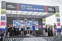 The Paris Roubaix 2018 podium:<br /> <br /> 1st place: World Champion Peter Sagan (SVK/Bora Hansgrohe)<br /> 2nd place Swiss Champion Silvan Dillier (SUI/AG2R La Mondiale)<br /> 3th place Niki Terpstra (NED/Quick Step Floors)<br /> <br /> 116th Paris-Roubaix (1.UWT)<br /> 1 Day Race. Compiègne - Roubaix (257km)