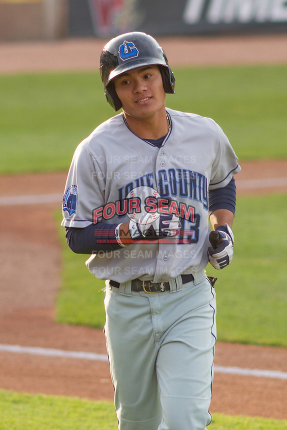 Lake County Captains infielder Yu-Cheng Chang (13) during a Midwest League game against the Wisconsin Timber Rattlers on June 3rd, 2015 at Fox Cities Stadium in Appleton, Wisconsin. Wisconsin defeated Lake County 3-2. (Brad Krause/Four Seam Images)