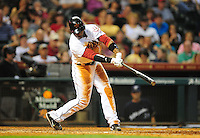 Apr. 30, 2011; Houston, TX, USA: Houston Astros batter (11) Jason Bourgeois hits a walk off single in the ninth inning against the Milwaukee Brewers at Minute Maid Park. The Astros defeated the Brewers 2-1. Mandatory Credit: Mark J. Rebilas-