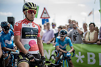 Caleb Ewan (AUS/Mitchelton Scott) in the red jersey as leader in point classification.<br /> <br /> Binckbank Tour 2018 (UCI World Tour)<br /> Stage 6: Riemst (BE) - Sittard-Geleen (NL) 182,2km