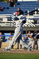 Mahoning Valley Scrappers outfielder D'vone McClure (1) at bat during a game against the Batavia Muckdogs on June 21, 2014 at Dwyer Stadium in Batavia, New York.  Batavia defeated Mahoning Valley 10-6.  (Mike Janes/Four Seam Images)