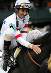 09 October 10: Court Vision (no. 9), ridden by Robby Albarado and trained by Richard Dutrow Jr., wins the 24th running of the grade 1 Turf Mile Stakes for three year olds and upward at Keeneland in Lexington, Kentucky.