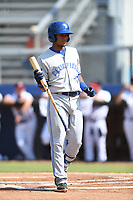 Leonardo Jimenez (10) of the Bluefield Blue Jays during a game against the Danville Braves at American Legion Post 325 Field on July 28, 2019 in Danville, Virginia. The Blue Jays defeated the Braves 9-7. (Tracy Proffitt/Four Seam Images)