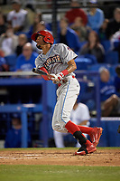 Clearwater Threshers Jose Pujols (23) at bat during a game against the Dunedin Blue Jays on April 8, 2017 at Florida Auto Exchange Stadium in Dunedin, Florida.  Dunedin defeated Clearwater 12-6.  (Mike Janes/Four Seam Images)