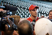 Philadelphia Phillies outfielder Hunter Pence #3 surrounded by cameras before the Major League Baseball game against the Houston Astros at Minute Maid Park in Houston, Texas on September 12, 2011. This game was Pence's first game in Houston since being traded at the July deadline. Houston defeated Philadelphia 5-1.  (Andrew Woolley/Four Seam Images)