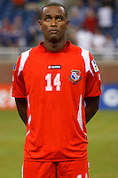Panama defender Eduardo Dasent (14) before the CONCACAF soccer match between Panama and Guadeloupe at Ford Field Detroit, Michigan.