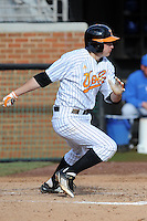 Second Baseman Will Maddox #1 swings at a pitch during a  game against the Kentucky Wildcats at Lindsey Nelson Stadium on March 24, 2012 in Knoxville, Tennessee. The game was suspended in the bottom of the 5th with the Wildcats leading 5-0. Tony Farlow/Four Seam Images.
