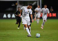 LAKE BUENA VISTA, FL - JULY 18: Giancarlo González #21 of LA Galaxy passes the ball during a game between Los Angeles Galaxy and Los Angeles FC at ESPN Wide World of Sports on July 18, 2020 in Lake Buena Vista, Florida.