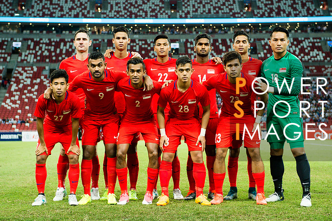 Singapore squad pose for photos during the International Test match between Argentina and Singapore at National Stadium on June 13, 2017 in Singapore. Photo by Marcio Rodrigo Machado / Power Sport Images