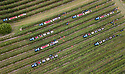 07/10/19<br /> <br /> ***Video also available*** <br /> <br /> Aerial shot of skilled workers hand-picking Great British Gala apples.<br /> <br /> Skilled workers are hand-picking British apples at an orchard in Kent, signalling the start of this year's season. Warm days and cold nights in late August and early September have produced an extremely vibrant crop.  <br /> <br /> All Rights Reserved, F Stop Press Ltd +44 (0)7765 242650 www.fstoppress.com rod@fstoppress.com