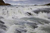 """Gullfoss, """"Goldener Wasserfall"""", Wasserfall des Flusses Hvítá im Haukadalur im Süden von Island, Stomschnellen. """"Golden Falls"""", waterfall, Iceland"""