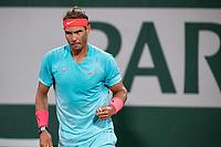 11th October 2020, Roland Garros, Paris, France; French Open tennis, mens singles final 2020; Rafael Nadal Esp as he wins a point against Djokovic