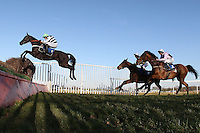 Race winner Owen Glendower ridden by Barry Geraghty in jumping action during the Weatherbys Cheltenham Festival Betting Guide Novices Chase - Horse Racing at Huntingdon Racecourse, Cambridgeshire - 23/02/12- MANDATORY CREDIT: Gavin Ellis/TGSPHOTO - Self billing applies where appropriate - 0845 094 6026 - contact@tgsphoto.co.uk - NO UNPAID USE.