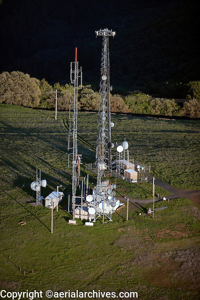 aerial photograph telecommunications towers Sonoma Mountain, Sonoma County, California
