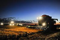 URUGUAY Bella Uniòn , 2100 Hektar Farm der Brueder Karol und Aleco Pinczak, Nachkommen polnischer Einwanderer, Reis Ernte mit John Deere Maehdrescher , Erntertrag 10 Tonnen pro Hektar, Reisfelder wurden durch Wasser vom Fluss Uruguay bewaessert / <br /> URUGUAY Bella Union, 2100 hectares farm, paddy harvest with John Deere combine, yield 10 tons per hectare, rice fields irrigated with water from river Uruguay