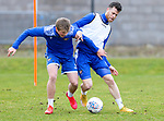 St Johnstone Training....24.02.21<br />Guy Melamed pictured with Max Kucheriavyi during training at McDiarmid Park ahead of Sunday's BETFRED Cup Final against Livingston at Hampden Park.<br /><br />Picture by Graeme Hart.<br />Copyright Perthshire Picture Agency<br />Tel: 01738 623350  Mobile: 07990 594431