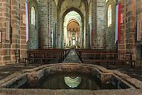 France, Haute-Vienne (87), le Dorat, la collégiale Saint-Pierre du Dorat, la nef et cuve baptismale carolingienne // France, Haute Vienne, le Dorat, Saint Pierre du Dorat church, the nave and the Carolingian baptismal font