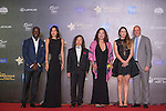 Dwight Yorke, Gaile Lai, Gary McAllister and his wife, Lu Chiachun Anna, Hsu Shenchi Sherman walk the Red Carpet event at the World Celebrity Pro-Am 2016 Mission Hills China Golf Tournament on 20 October 2016, in Haikou, China. Photo by Marcio Machado / Power Sport Images