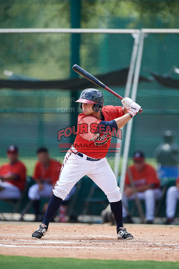 GCL Braves center fielder Carlos Baerga (64) at bat during a game against the GCL Pirates on July 27, 2017 at ESPN Wide World of Sports Complex in Kissimmee, Florida.  GCL Braves defeated the GCL Pirates 8-6.  (Mike Janes/Four Seam Images)