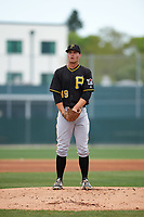 Pittsburgh Pirates Sean Keselica (49) during a minor league Spring Training game against the Toronto Blue Jays on March 24, 2016 at Pirate City in Bradenton, Florida.  (Mike Janes/Four Seam Images)