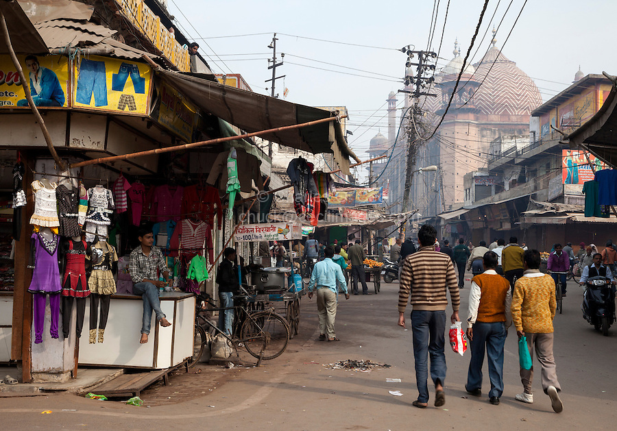 Agra, India.  Street Scene with Jama Masjid (Friday Mosque) in Background, built 1648 by Shah Jahan.