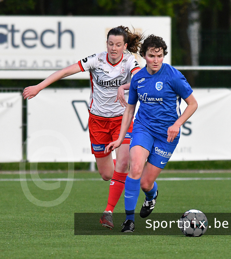 Summer Rogiers (8) of Zulte Waregem and Lotte Van Den Steen (15) of KRC Genk pictured during a female soccer game between  Racing Genk Ladies and SV Zulte-Waregem on the 7 th matchday of play off 2 in the 2020 - 2021 season of Belgian Scooore Womens Super League , friday 14 th of May 2021  in Genk , Belgium . PHOTO SPORTPIX.BE | SPP | JILL DELSAUX
