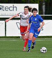 Summer Rogiers (8) of Zulte Waregem and Lotte Van Den Steen (15) of KRC Genk pictured during a female soccer game between  Racing Genk Ladies and SV Zulte-Waregem on the 7 th matchday of play off 2 in the 2020 - 2021 season of Belgian Scooore Womens Super League , friday 14 th of May 2021  in Genk , Belgium . PHOTO SPORTPIX.BE   SPP   JILL DELSAUX